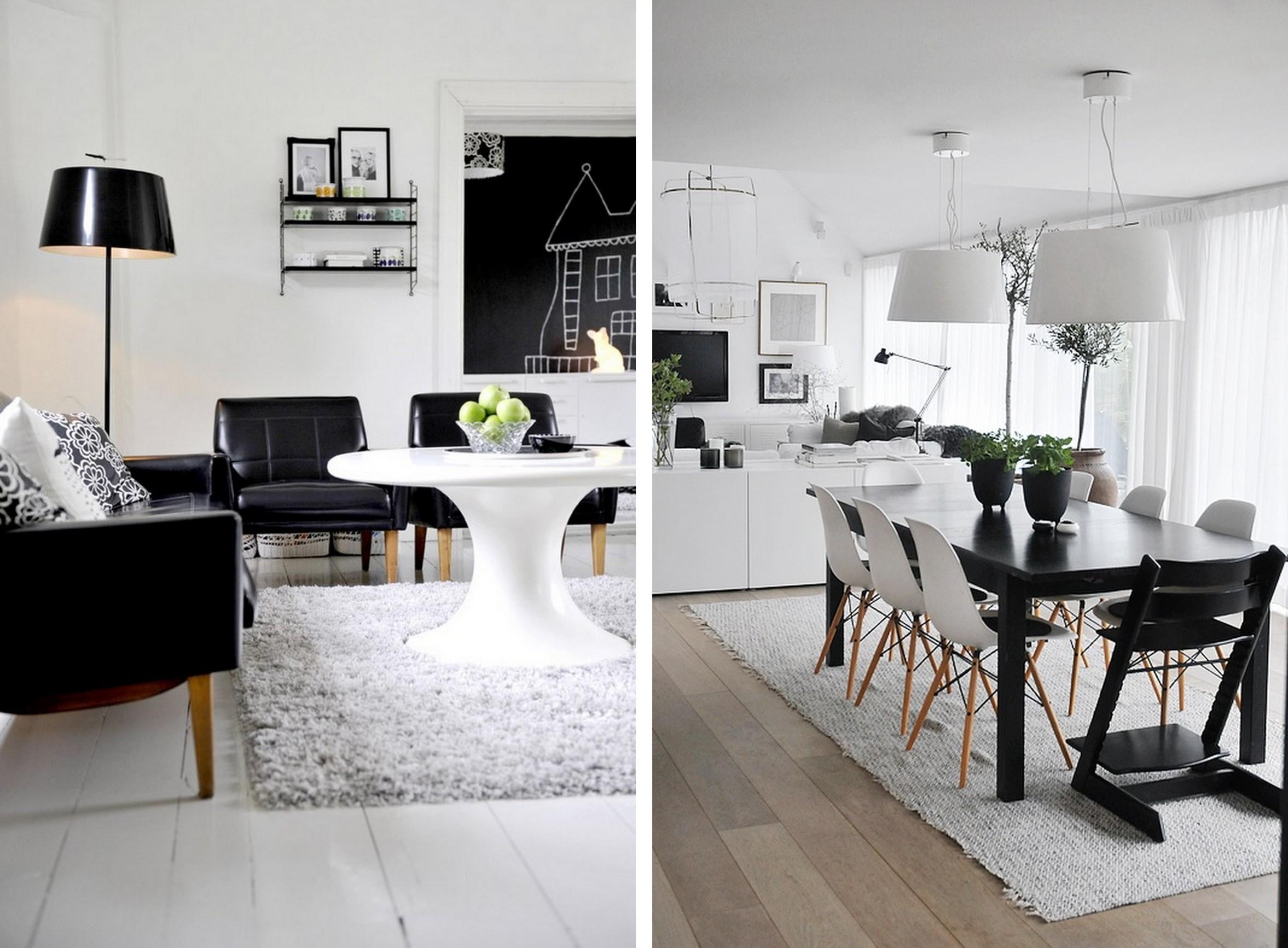 פינת אוכל בשחור-לבן וסלון עם לוח וגיר